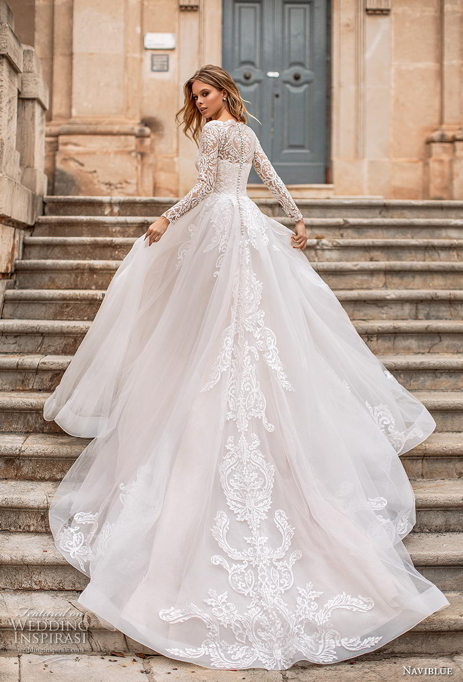 naviblue 2019 bridal long sleeves illusion bateau straight across neckline heavily embellished bodice romantic a line wedding dress covered lace back royal train (10) bv