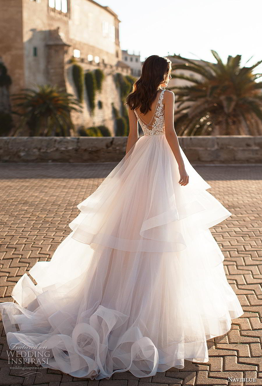 naviblue 2019 bridal sleeveless v neck heavily embellished bodice tiered skirt romantic a line wedding dress backless v back chapel train (4) bv
