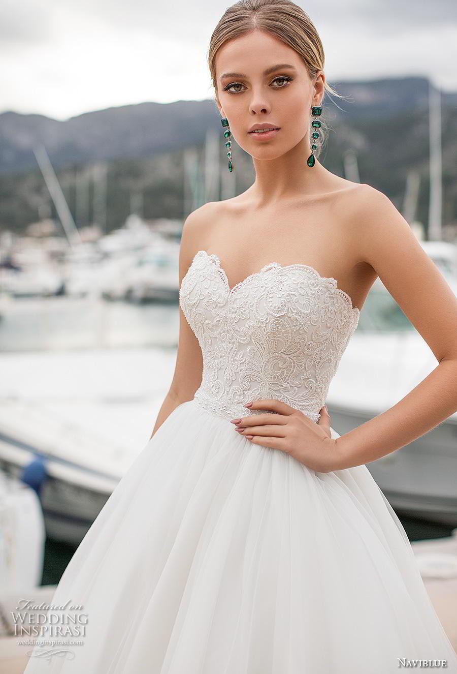 naviblue 2019 bridal strapless sweetheart neckline heavily embellished bodice romantic a line wedding dress cross strap back chapel train (11) zv