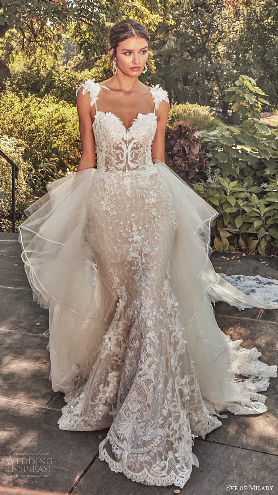 eve of milady spring 2020 bridal sleeveless straps sweetheart neckline fully embellished sheath mermaid lace wedding dress ball gown overskirt chapel train (1) mv