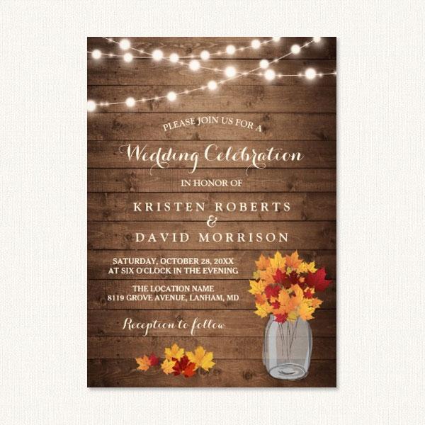 Autumn Leaves String Lights Themed Wedding Invitations