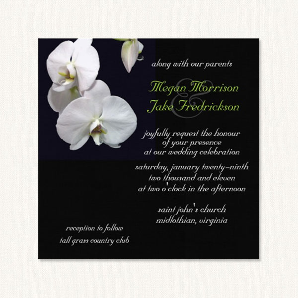 Orchids Wedding Invitations With White On A Black Background