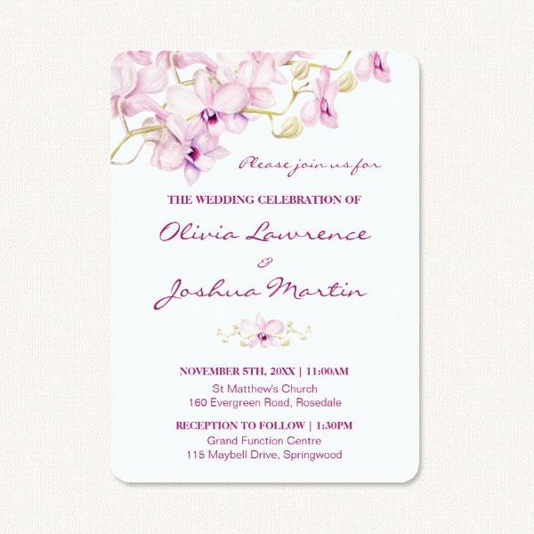 Exotic Purple Orchid Wedding Invitations