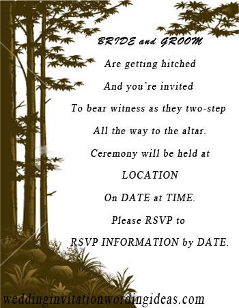 Country Wedding Invitation Wording