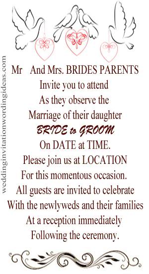 Informal Wedding Invitation Wording Examples