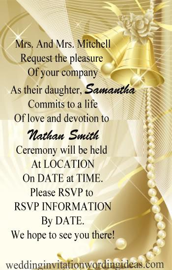 Formal Wedding Invitation Wordings Groom S Pas Host