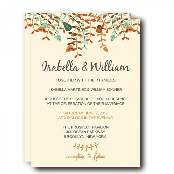 Fall Wedding Invitations Yellow Tree Leaves And Greenery Save The Date Thank You Cards Wip005