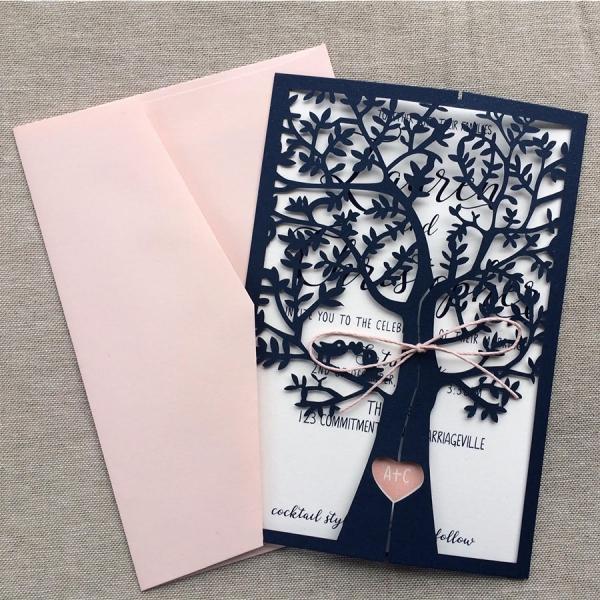 Navy Blue And Pink Fresh Tree Laser Cut Wedding Invitations