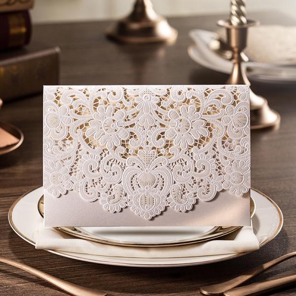 White Wedding Invitations Pocket Elegant Laser Cut Wlc016