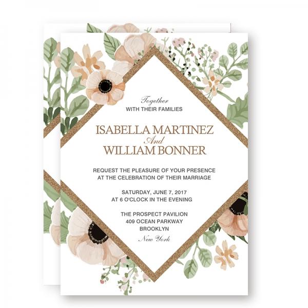 Rustic Greenery Boho Fl Spring Wedding Invitations Sage Green Blush Flowers Gold Foil Geometric Pattern Thank You