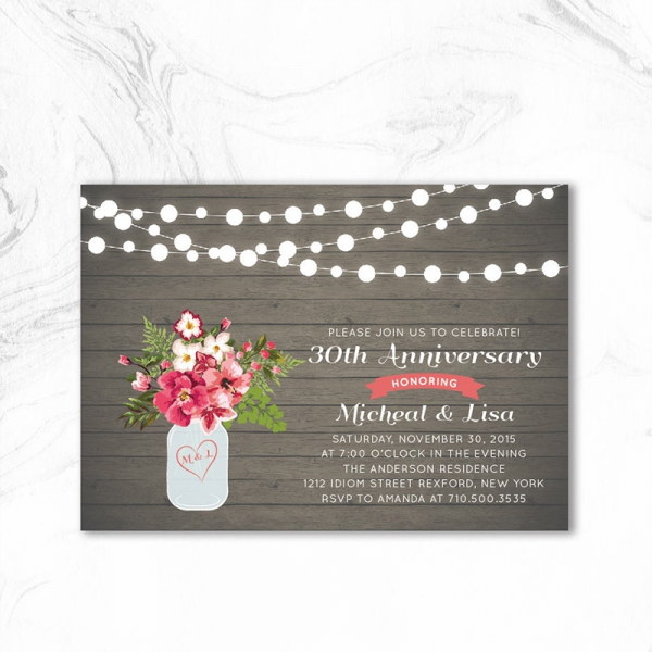 Rustic Chic Fall Wedding Anniversary Party Invitation Wai001