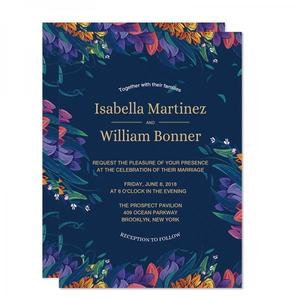 Rustic Navy Blue Fl Wedding Invitations Spring Watercolor Purple Flowers Invitation Template Gold Foil Wordings