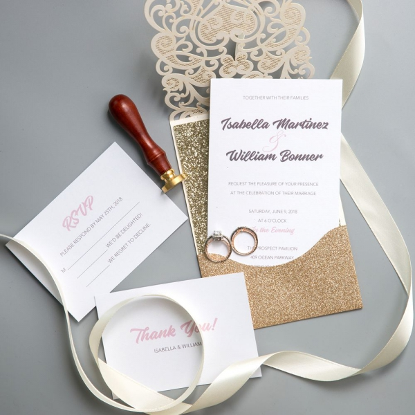 Gold Shimmer Laser Cut Wedding Invitations Vintage Fall Invitation Suite Thank You Cards