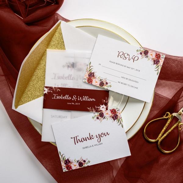 White Vellum Wedding Invitations With Burgundy Belly Band Watercolor Fl Design Free Envelopes Gold Glitter Backer Luxury