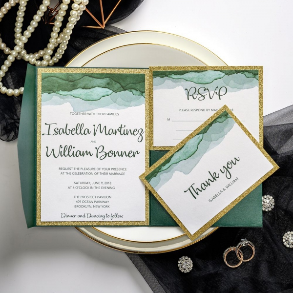 Emerald And Gold Pocket Wedding Invitations Watercolor Vintage Classic Spring Fall Winter Ws046