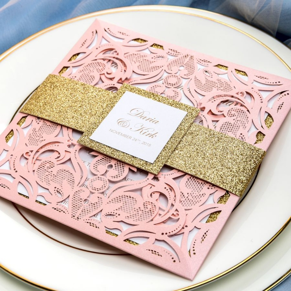 Blush Pink Laser Cut Wedding Invitations With Gold Glitter Belly Band And Tag Elegant Vintage Classic Square