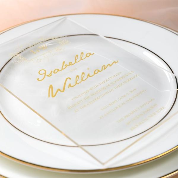 Gold Foil Acrylic Wedding Invitation