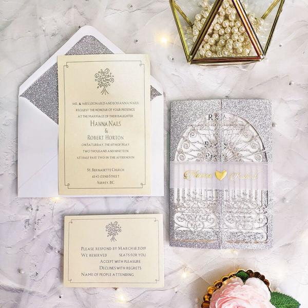 Gold Elegant Wedding Invitations