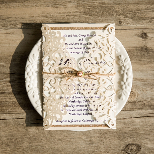 Rustic Ivory Laser Cut Gold Glittery Wedding Invitation Spring Fall Wlc027