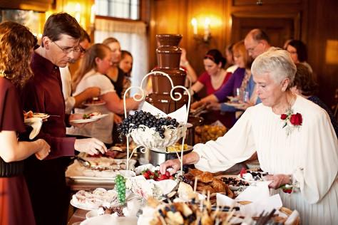 a beautiful wedding reception buffet table for an LDS wedding