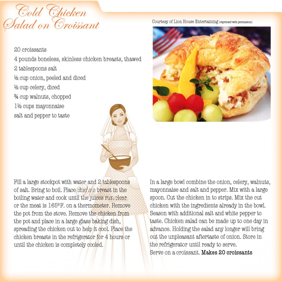 Cold Chicken Salad Croissant Sandwich, Recipe Courtesy of Lion House Weddings