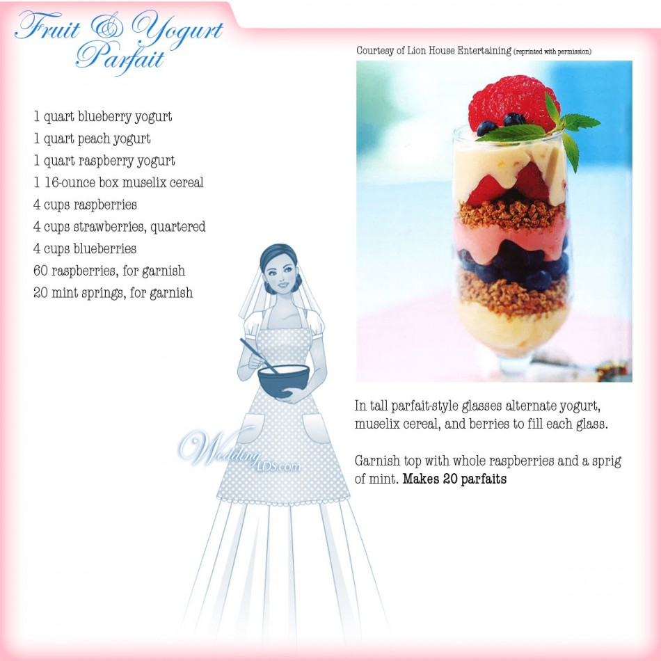 Fruit and Yogurt Parfait, Recipe Courtesy of Lion House Entertaining