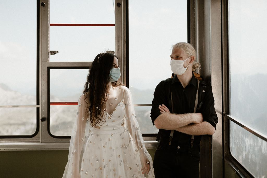 Elopement Couple in the Cable Car