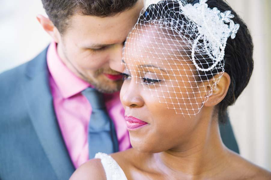 close up of bride posing