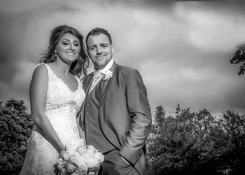 Happy couple at Stirk house hotel wedding