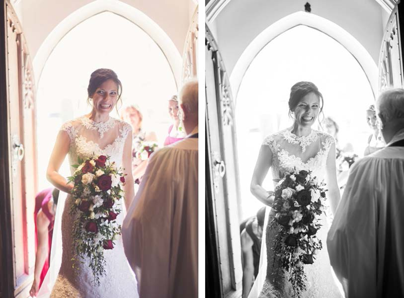 Bride entering church to be married