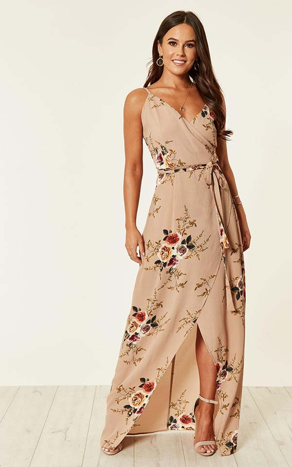 Mia floral wrap maxi dress in beige