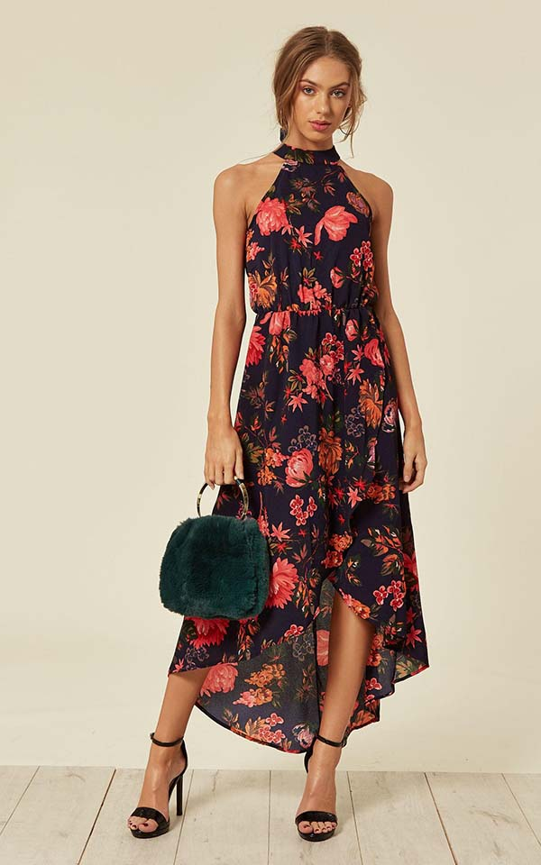 navy floral cut wrap dress