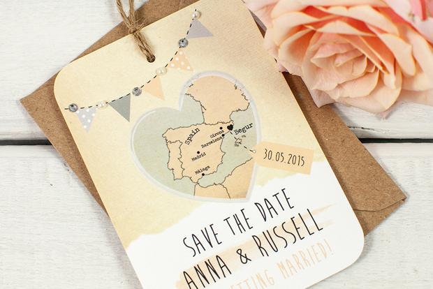 World Map Travel Themed Wedding Invites