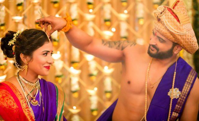 beautiful Maharashtrian wedding ceremony with blue theme