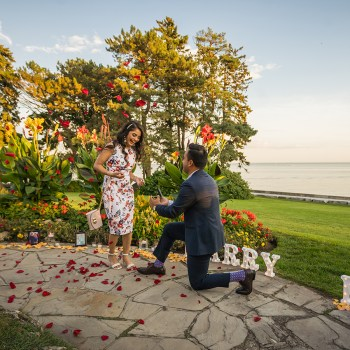 A lush, botanical garden was the perfect setting for Dhruv's surprise proposal to Anmol
