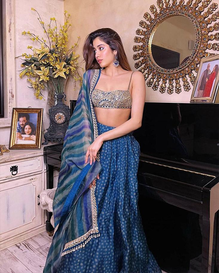 Janhvi Kapoor in a lahenga by Arpita Mehta