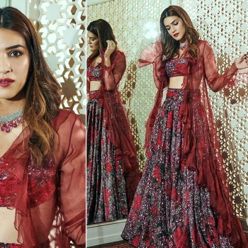 Kriti Sanon's red floral Shehla Khan lehenga adds edgy glam to Wedding Wear
