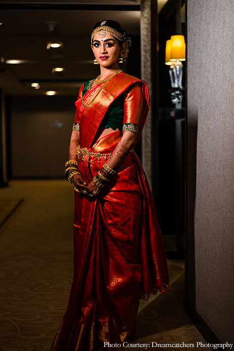 Red silk-saree - Snehal and Purval, The St. Regis, Mumbai