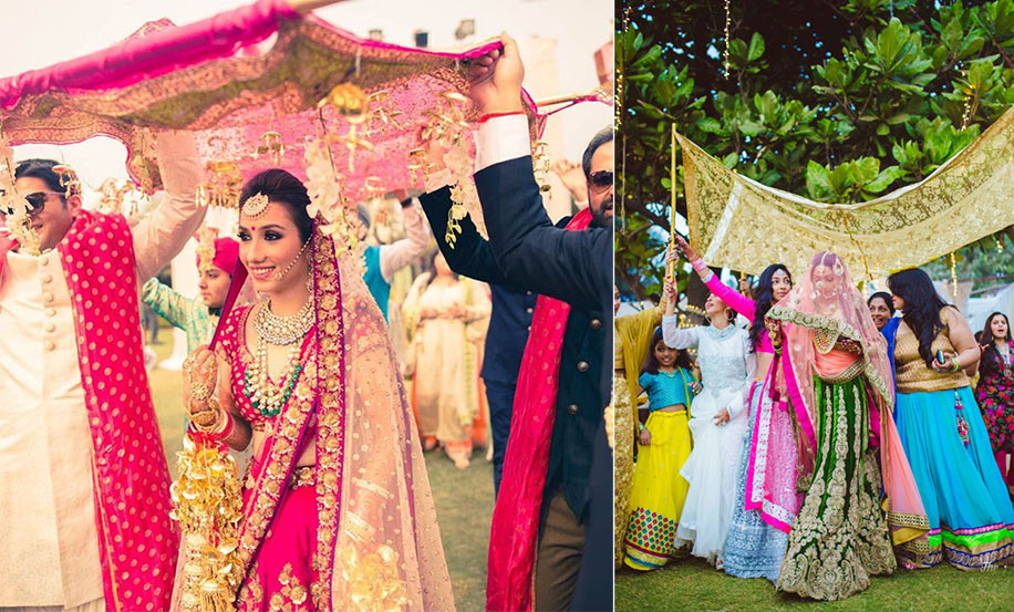 Enter your wedding in style with these bridal chaadar inspirations