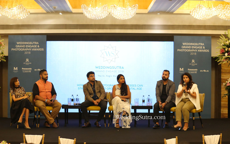 First panel discussion: Madhulika Mathur, Arjun Kartha, Siddharth Sharma, Ankita Asthana, Jayant Chhabra and Shreya Sen at WeddingSutra Grand Engage 2018