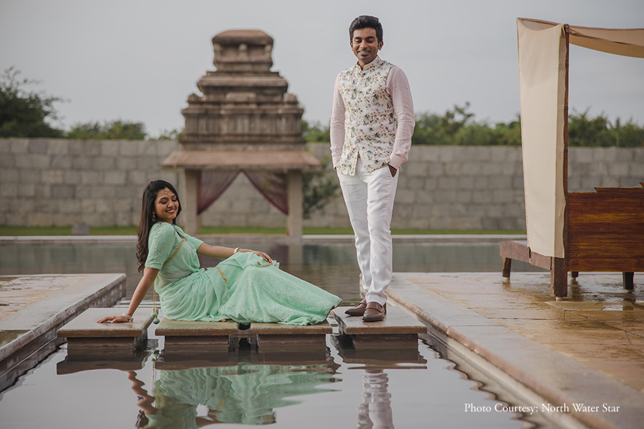Regal structures in Hampi served as dramatic backdrops for Rohini and Dheeraj's pre-wedding photoshoot