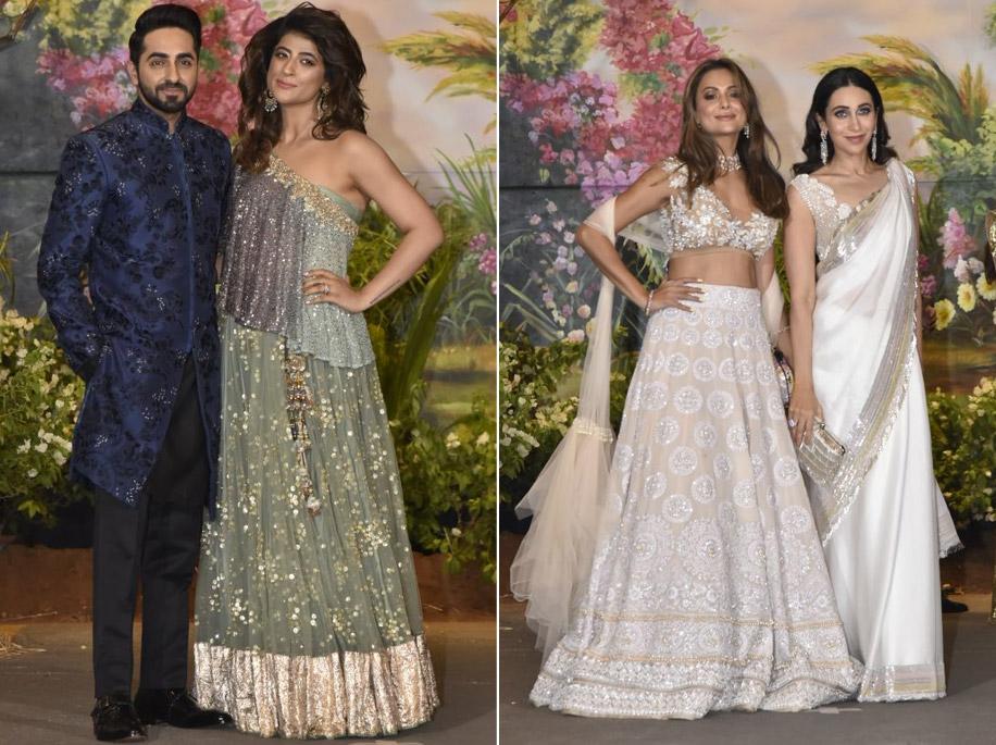 Ayushman Khurana, Amrita Arora and Karisma Kapoor at Sonam Kapoor's Reception