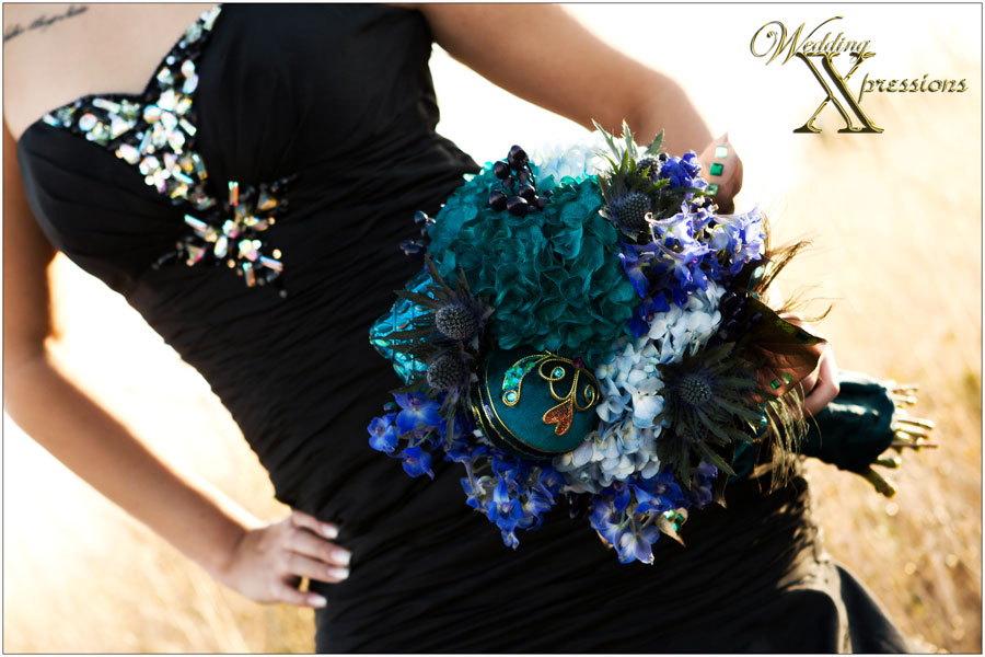 bridal bouquet with black wedding dress