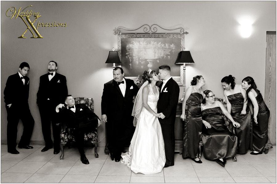 bridal party at wedding reception
