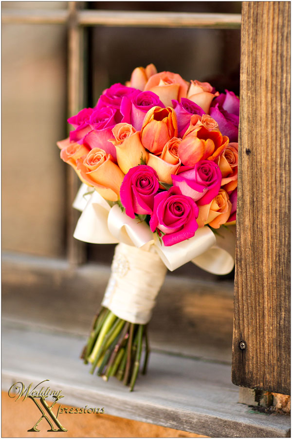 pink and orange bridal bouquet