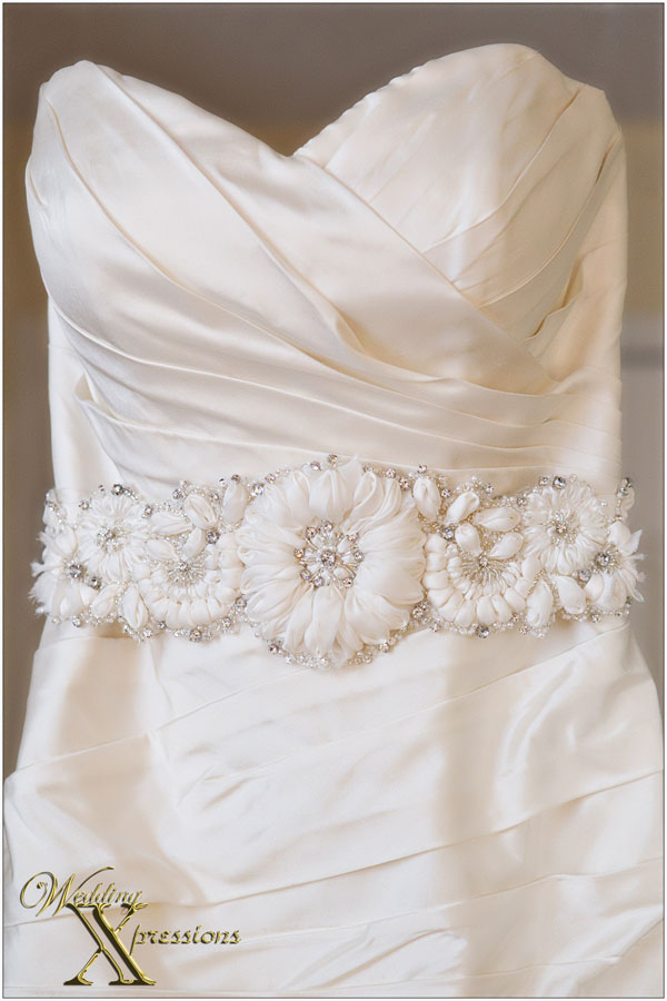 white wedding dress sash