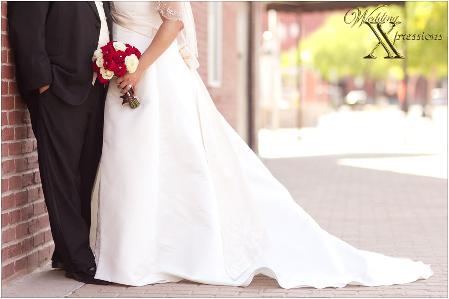 groom's tux and bride's wedding dress