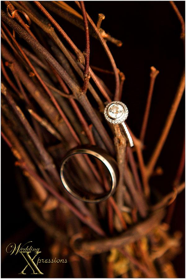 wedding rings on twigs