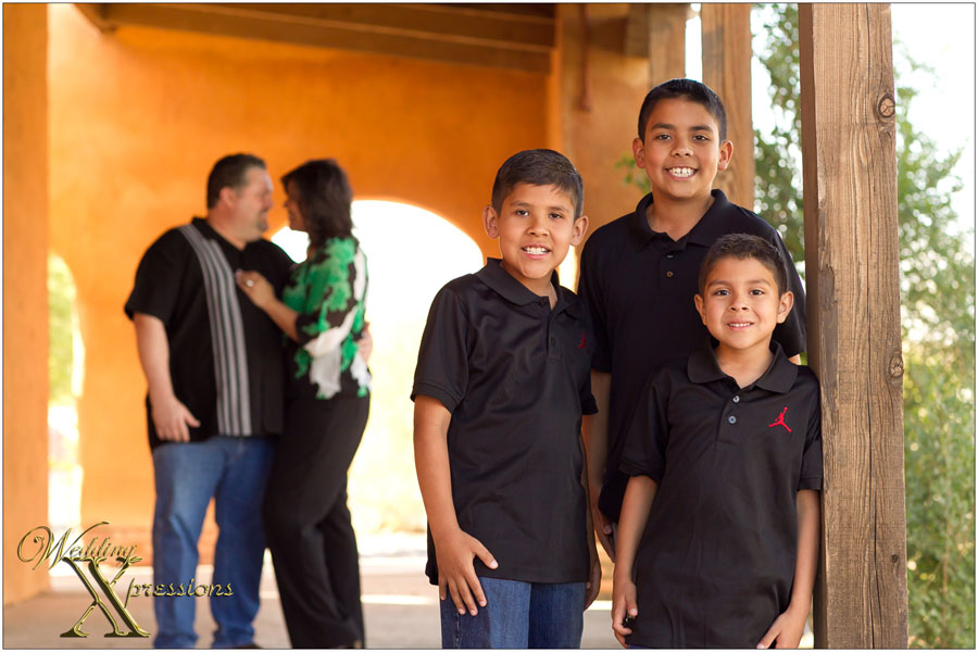 with their three boys