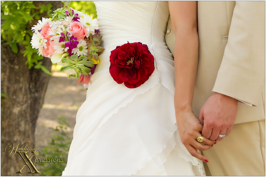 bouquet dress flower and rings